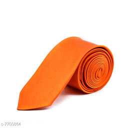 Pihu Solid Satin Tie Orange