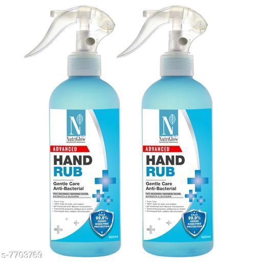 NutriGlow Advanced Organics Combo of 2 70%(v/v) Alcohol Based Hand Sanitiser Multipurpose Liquid hand rub for Disinfactant Hand|Gentle Spray|Deep Cleanse 500ml Each