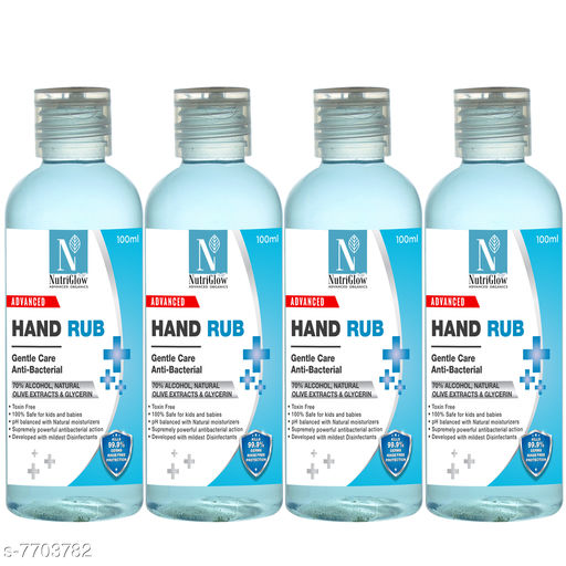 NutriGlow Advanced Organics Pack of 4 - Anti-Bacterial Hand Rub 70% Alcohol Natural Olive Extract & Glycerin For Deep Cleanse|Mouisturise Hands (4x100ml)