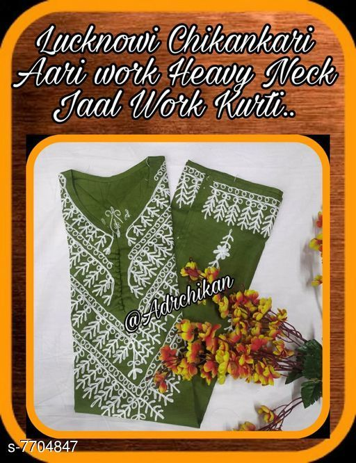 Dupatta Sets LUCKNOW CHIKANKARI AARI WORK HEAVY NECK DESIGNER KURTI  Kurta Fabric: Cotton Sleeve Length: Three-Quarter Sleeves Pattern: Embroidered Multipack: Single Sizes: M (Bust Size: 38 in Kurta Length Size: 46 in) L (Bust Size: 40 in Kurta Length Size: 46 in) XL (Bust Size: 42 in Kurta Length Size: 46 in) XXL (Bust Size: 44 in Kurta Length Size: 46 in) Country of Origin: India Sizes Available: M, L, XL, XXL   Catalog Rating: ★3.7 (10)  Catalog Name: LUCKNOW CHIKANKARI AARI WORK HEAVY NECK DESIGNER KURTI  CatalogID_1253799 C74-SC1853 Code: 444-7704847-
