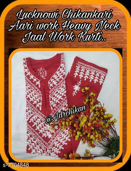 Dupatta Sets LUCKNOW CHIKANKARI AARI WORK HEAVY NECK DESIGNER KURTI  Kurta Fabric: Cotton Sleeve Length: Three-Quarter Sleeves Pattern: Embroidered Multipack: Single Sizes: M (Bust Size: 38 in Kurta Length Size: 46 in) L (Bust Size: 40 in Kurta Length Size: 46 in) XL (Bust Size: 42 in Kurta Length Size: 46 in) XXL (Bust Size: 44 in Kurta Length Size: 46 in) Country of Origin: India Sizes Available: M, L, XL, XXL   Catalog Rating: ★3.7 (10)  Catalog Name: LUCKNOW CHIKANKARI AARI WORK HEAVY NECK DESIGNER KURTI  CatalogID_1253799 C74-SC1853 Code: 444-7704848-
