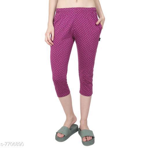 Zeffit Women Printed Rich Cotton Yoga/Sports/Lounge Capri Pants