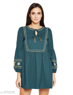 Olive Larissa Tape Style Embroidered Dress