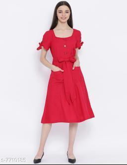 Maroon Bella Stylized Bow Women Dress