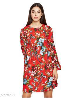 Floral Print Tie Stylished A-line Dress