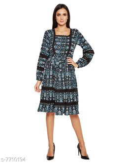 Abstract Chaos Fashion Midi Lace details Dress