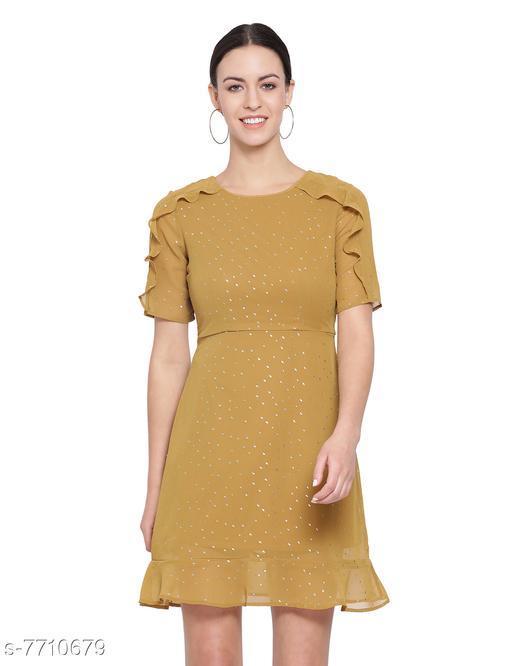 Mustard Frill Skater Foil Print Women's Dress
