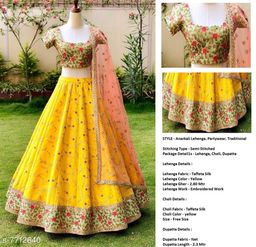 New Attractive Yelllow Colour Lengha Choli With Dupatta