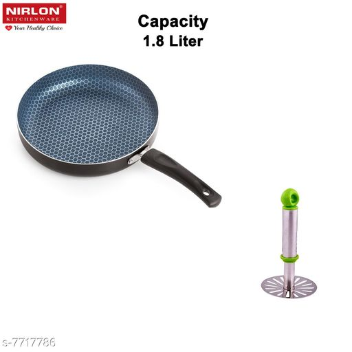 Nirlon Honeycomb Kitchen Accessories for Cooking Nonstick Kadhai/Wok2.25 Liter with Handle with potato masher