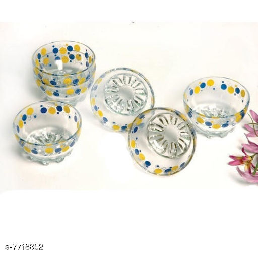 Glassware & Drinkware  Printed Designer Small Glass Bowl  *Material* Glass  *Pack* Pack Of 6  *Sizes Available* Free Size *    Catalog Name: Designer Bowls CatalogID_1256925 C136-SC1603 Code: 803-7718852-