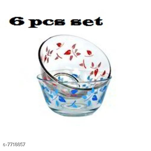 Glassware & Drinkware  Printed Designer Small Glass Bowl  *Material* Glass  *Pack* Pack Of 6  *Sizes Available* Free Size *    Catalog Name: Designer Bowls CatalogID_1256925 C136-SC1603 Code: 803-7718857-
