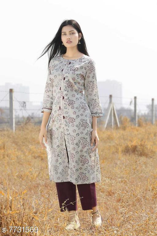 Women Cotton Linen Front Slit Floral Kurti