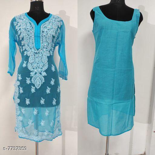 Trendy Chiffon Kurti Set With Inner Wear