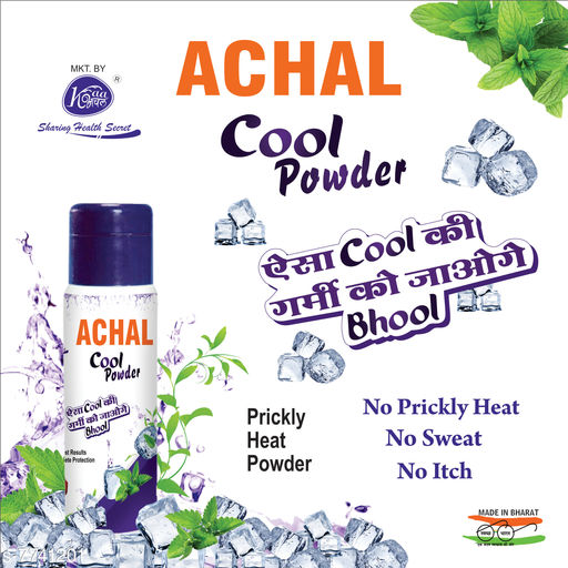 Herbal Products Achal cool powder  *Brand* Achal  *Skin Type* All Skin Types  *Multipack* 1  *Description * This Powder Destroys Germs and also cure Itching,Sweat Smell,Rashes  *Capacity * 150 g  *Sizes Available* Free Size *    Catalog Name: Achal cool powder CatalogID_1261337 C52-SC1311 Code: 261-7741201-