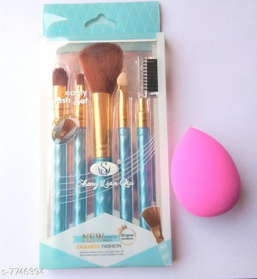 Unique glow brushes with 1 puff Foundation Brush 6 Pcs 80 g