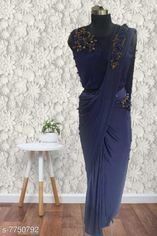 READYMADE SAREE WITH STITCHED BLOUSE AND HEAVY BACK