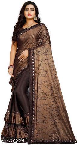 soft malai silk saree ruffle work lace