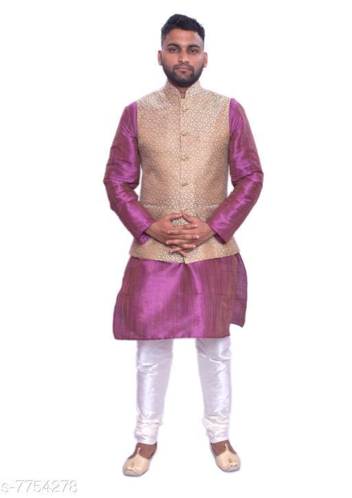 Kurta Sets MAG Men's Purple Double Tone Kurta white Churidar With Banarsi Gold Waistcoat  *Sizes*  Free Size  *Sizes Available* Free Size *    Catalog Name: Modern Men Kurta Sets CatalogID_1264304 C66-SC1201 Code: 4151-7754278-