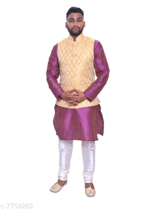 Kurta Sets MAG Men's Purple Double Tone Kurta white Churidar With New Gold 1st Waistcoat  *Sizes*  Free Size  *Sizes Available* Free Size *    Catalog Name: Modern Men Kurta Sets CatalogID_1264304 C66-SC1201 Code: 4151-7754282-