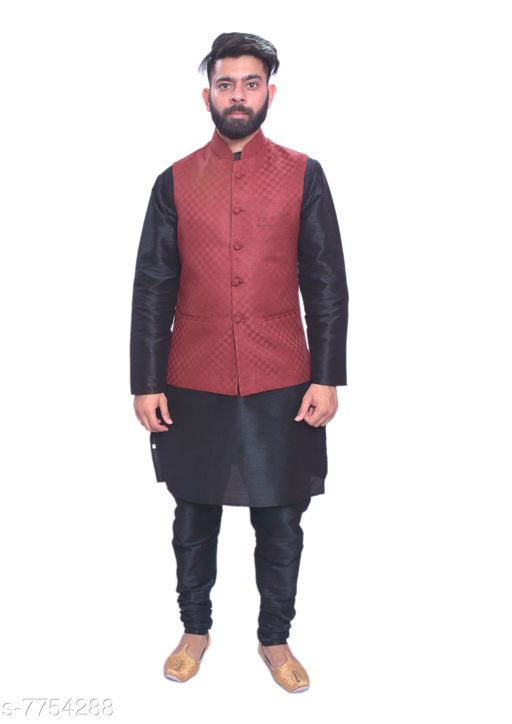 Kurta Sets MAG Men's Black Matching Kurta Churidar Designer Red Joot Waistcoat  *Sizes*  Free Size  *Sizes Available* Free Size *    Catalog Name: Modern Men Kurta Sets CatalogID_1264304 C66-SC1201 Code: 4151-7754288-