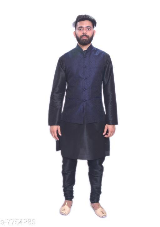 Kurta Sets MAG Men's Black Matching Kurta Churidar With  Navy Blue Waistcoat  *Sizes*  Free Size  *Sizes Available* Free Size *    Catalog Name: Modern Men Kurta Sets CatalogID_1264304 C66-SC1201 Code: 4151-7754289-