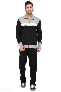Men'sSolid Black And Grey Striped TrackSuit