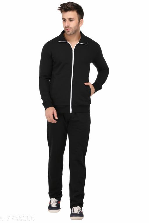 Men'sSolid Black Track Suit