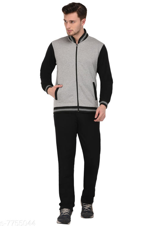 Men'sSolid Black And Grey Track Suit
