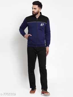 Men's Printed Navy Blue and Black Printed Zippered Tracksuit