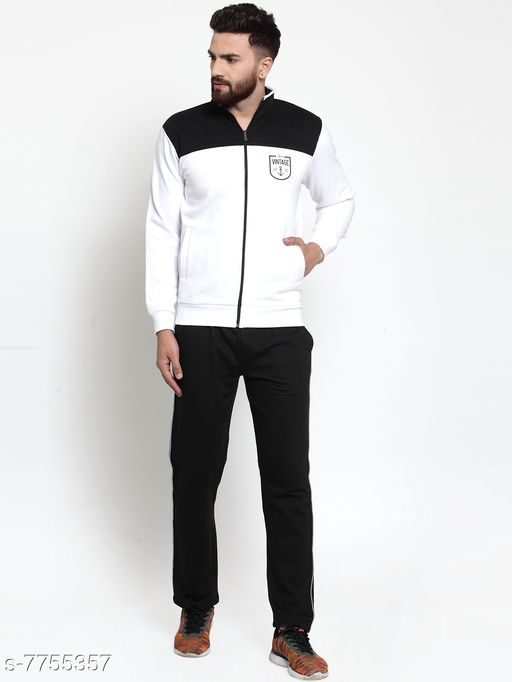 Men's Printed Black And White Printed Full Sleeves Zippered Tracksuit