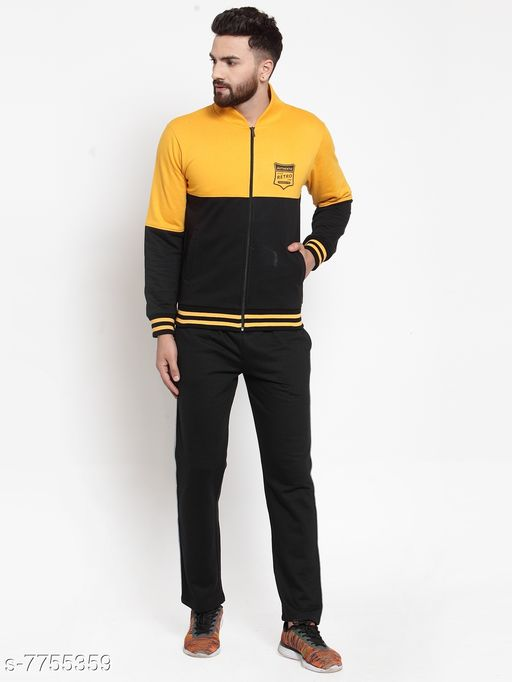 Men's Printed Yellow and Black Printed Zippered Tracksuit