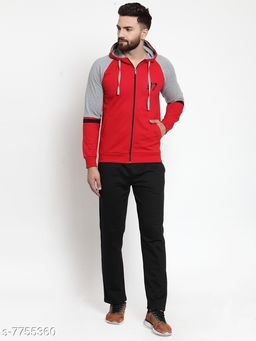 Men's Red and Grey Hooded Zippered Tracksuit