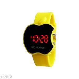 PU-Yellow Cut Apple LED Digital Kids Watch