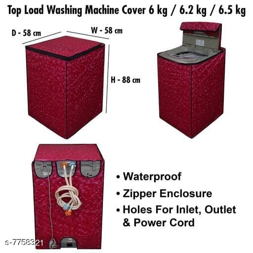 Star Weaves Fully Automatic Top Load Washing Machine Cover - Waterproof & Dustproof Cover Red Color
