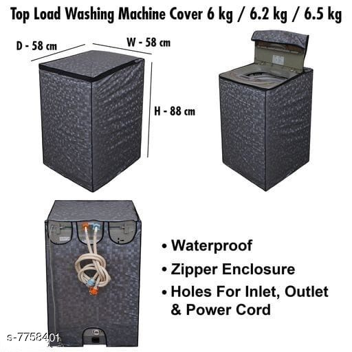 Star Weaves Fully Automatic Top Load Washing Machine Cover - Waterproof & Dustproof Cover Grey Color