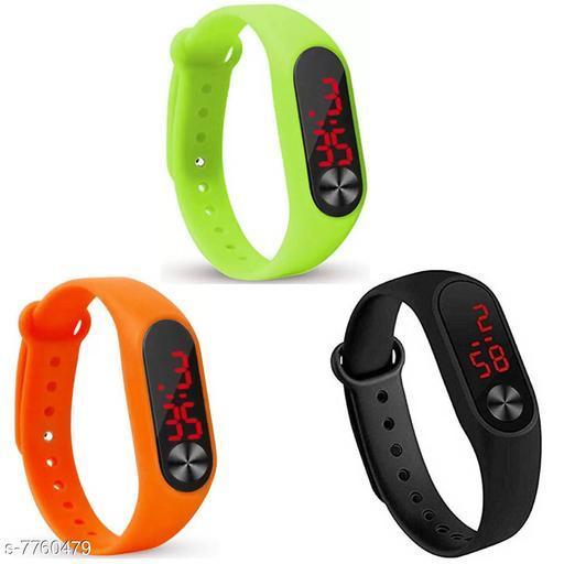 M2-Black-Orange-Green Fancy Digital Kids 3 Watch
