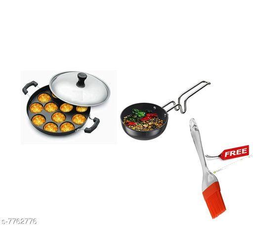 Other GreenFinch  Non-Stick 12 Cavity Appam Patra/Maker with Stainless Steel Lid and tadka pan free silicon brush Material: Aluminium Type: Non-stick Pack: Pack of 2 Sizes:  Free Size Sizes Available: Free Size   Catalog Rating: ★3.7 (40)  Catalog Name: Wonderful Frying Pans CatalogID_1266382 C103-SC1807 Code: 106-7762776-998