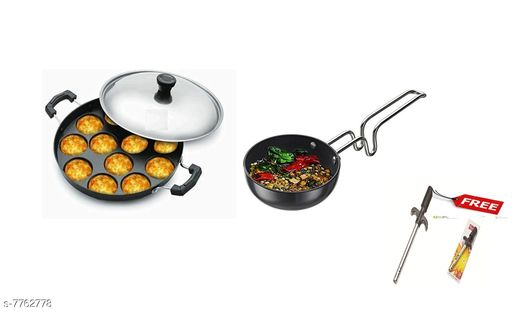 Other GreenFinch  Non-Stick 12 Cavity Appam Patra/Maker with Stainless Steel Lid and tadka pan free Lighter Material: Aluminium Type: Non-stick Pack: Pack of 2 Sizes:  Free Size Sizes Available: Free Size   Catalog Rating: ★3.7 (40)  Catalog Name: Wonderful Frying Pans CatalogID_1266382 C103-SC1807 Code: 106-7762778-998