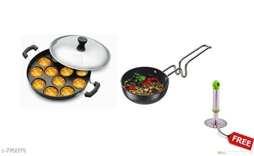 Other GreenFinch  Non-Stick 12 Cavity Appam Patra/Maker with Stainless Steel Lid and tadka pan free Potato Masher Material: Aluminium Type: Non-stick Pack: Pack of 2 Sizes:  Free Size Sizes Available: Free Size   Catalog Rating: ★3.7 (40)  Catalog Name: Wonderful Frying Pans CatalogID_1266382 C103-SC1807 Code: 106-7762779-998