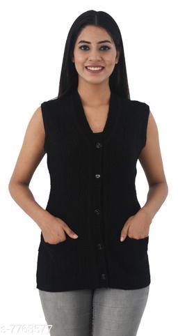 FASHSTORE Womens woolen sleeveless button cardigan or sweater