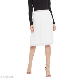 Weave & Knits White Color Polyester lining Knee Length Skirts