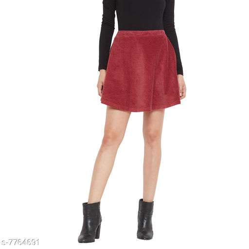 Weave & Knits Maroon Color Cordruoy Plain Knee Length Skirts