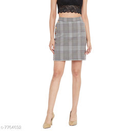 Weave & Knits Grey Color Checked Printed Cotton Poly Knee Length Skirts
