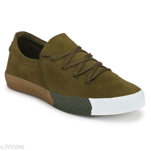 Aaravin's Men's Green Perfect stylish Suede Lace up Sneaker