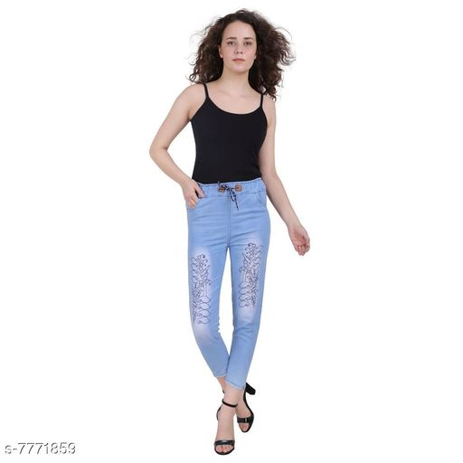 Jeggings Women Western Wear - Western Bottomwear - Jeggings  *Fabric* Denim  *Sizes*   *Free Size (Waist Size* 32 in, Length Size  *Sizes Available* Free Size, 28, 30, 32 *    Catalog Name: Stylish Modern Women Jeggings CatalogID_1268192 C79-SC1033 Code: 523-7771859-