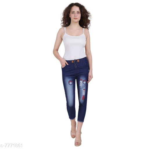 Jeggings Women Western Wear - Western Bottomwear - Jeggings  *Fabric* Denim  *Sizes*   *Free Size (Waist Size* 32 in, Length Size  *Sizes Available* Free Size, 28, 30, 32 *    Catalog Name: Stylish Modern Women Jeggings CatalogID_1268192 C79-SC1033 Code: 592-7771861-