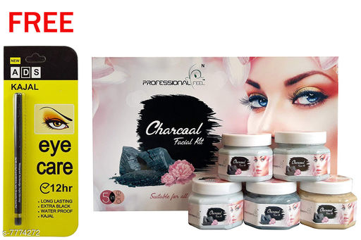 Professional Feel Charcoal FacialKit (250g) Free Ads Kajal (Pack Of 2)