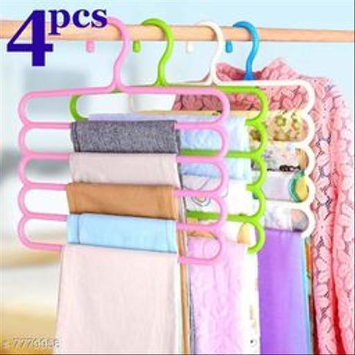 Clothes Organizer Hanger for Shirts, Pants, Skirts-32 L x 31 H x 5W cm (Multicolour, Set of 4)