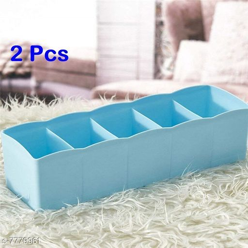 Socks Undergarments Storage Drawer Organiser Set of 2, (Colour May Vary)