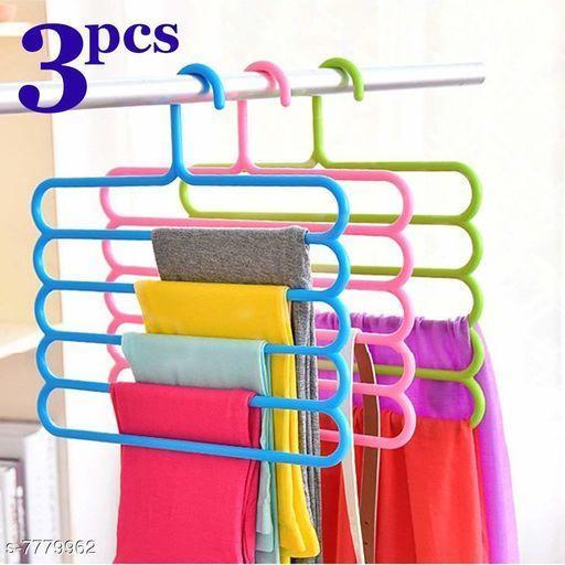 Clothes Organizer Hanger for Shirts, Pants, Skirts-32 L x 31 H x 5W cm (Multicolour, Set of 3)